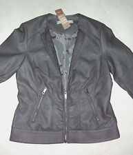 Rivers: Size: 16. Synthetic-Leather Look DARK-MINK FullyLined Zip Mariner Jacket