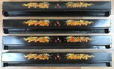 Vintage Chinese Fujian Lacquerware Mahjong Tile Rack Tray Holder Set of 4 w/ Box