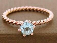 R253 Solid 9K Rose Gold NATURAL Topaz Rope Ring Stackable Crown Solitaire size N