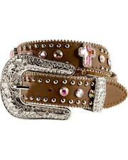 Nocona Girls Rhinestone Cross Leather Belt - N4425644
