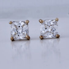 yellow Gold Filled Womens Boys Large Square Stud Earrings Hip Hop Crystal Cheap