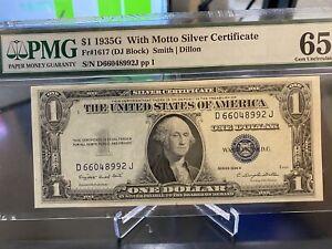 1935 G $1 SILVER CERTIFICATE WITH MOTTO FR.1617 DJ BLOCK PMG GEM UNC 65 EPQ