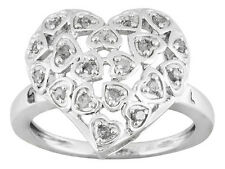 .26ctw White Diamond Rhodium Over Sterling Silver Heart Ring size 5