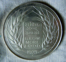 1973 India 20 Rupees Silver Coin FAO Grow More Food