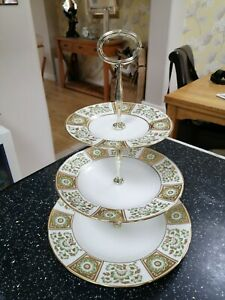 Royal Crown Derby GREEN PANEL three tier cake stand - 1sts