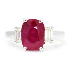 Oval Ruby 3 Stone Ring with Diamonds 18K White Gold 3.98ctw