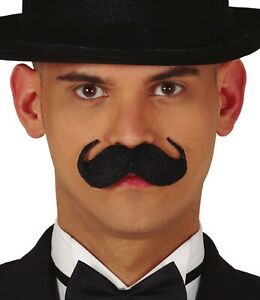 Mens Black Fake False Moustache British Englishman Fancy Dress Costume Outfit