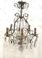Lustre cage en bronze et pendeloques Lustre de style Louis XV Luminaire