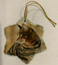 American Shorthair Cat Porcelain Christmas Ornament New