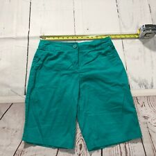 White Stag Women Walking Bermuda Shorts Size 6 Green Flat Front Casual - C198