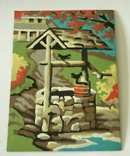 Vintage Textured Paint By Numbers Completed Birds on Wishing Well Painting 8x6