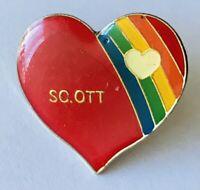 Scott Love Heart Rainbow Pin Badge Rare Vintage Novelty (E3)