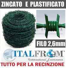 100mt FILO SPINATO SPINOSO ZINCATO PLASTIFICATO VERDE RECINZIONE RETE METALLICA
