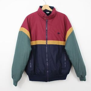 A66 Vtg Adidas 90s Men Red Blue Puffer Bomber Jacket Rare West Germany GB42 M/L