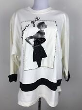 Nwt Vintage 90s Chaus Sport Blouse Glamour Girl Retro Black White Size M Jersey
