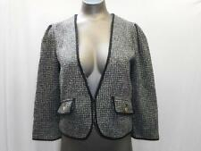 SANCTUARY CLOTHING Anthropology Sz XS Short Crop Blazer Jacket Black White Gray