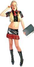Damen Kostüm Schulmädchen Outfit Uniform Bluse Dessous Erotik Karierter Rock