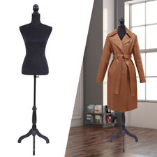 Black Female Mannequin Torso Dress Clothing Form Display w/Tripod Stand