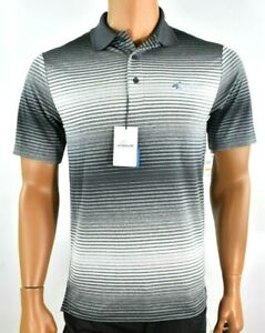 Greg Norman Attack Life Mens Shirt New S Play Dry Gray Easy Care Stripe UPF 50+