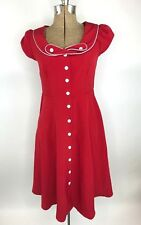 Modcloth Myrtlewood of California Dress Size Small Red Retro Pin Up Button Front