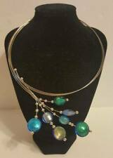 Blue & Green Peacock Feather Stone Round Wrap Necklace Bib