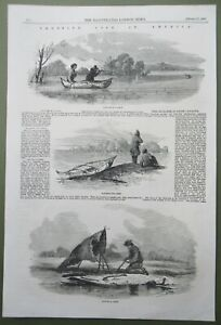 Frontier Life in America Canoe Building & Hunting Antique Print 1858 Otter Watch