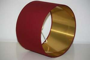 Lampshade, Deep Dark Red with Brushed Gold, Silver or Copper Lining