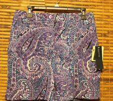 Jones New York Shorts Paisley Purple and Teal Size12 Women's NWT