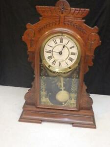 ANTIQUE SETH THOMAS 1888 QUINCY SHELF MANTEL CLOCK HOME WORKS