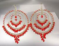 STUNNING Artisanal Coral Red Crystals Beads Gold Chandelier Statement Earrings L