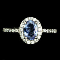 Unheated Oval Blue Tanzanite 7x5mm Cz White Gold Plate 925 Sterling Silver Ring