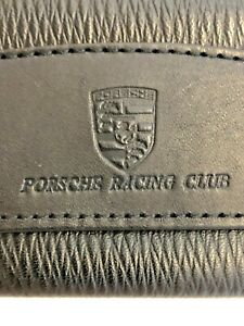 Porsche Racing Club Leather Metal Key Pouch Chain Black and Silver, Key Ring Hot