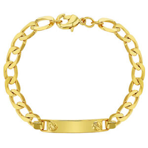 18k Gold Plated Tag ID Bracelet for Toddlers Identification 5""