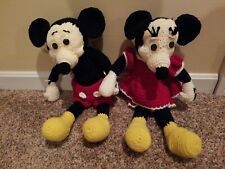 Knit Mickey and Minnie Mouse Knit Crochet Plush Handmade
