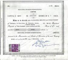 UK GB Bond 1971 Britannia Studios International 9750 shares  £9750 revenue Malta