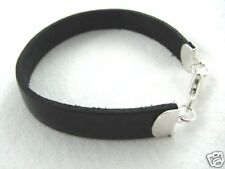 Gothic Black Leather Sterling Silver Bracelet 10mm Wide