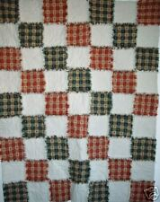 Prim Green/Wine Homespun Country Rag Quilt w/ Hearts 18