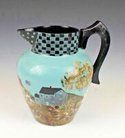 Hand Painted Folk Art Metal Pitcher Signed Farm and Country Setting