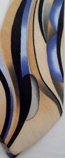 100% Silk Enrico Rossini Tie Necktie Classy Blue Gold Black Abstract Waves