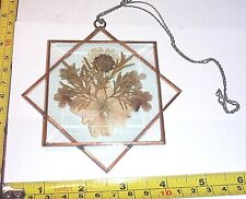 "Vtg Beveled Glass SUN CATCHER - Floral w/Hanging Chain ~ 4 3/8"" x 4 1/4"""