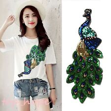 Sequins Peacock Iron On Applique Embroidered Sewing Trim Cloth Dress Decoration