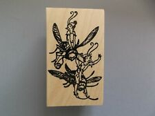 100 Proof Press Rubber Stamps Elves Riding Bumble Bees New wood Stamp