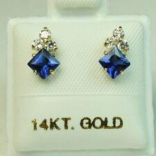 4x4mm princess cut 14k solid y/gold Blue Sapphire Small screw back stud earrings