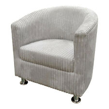 Uk MadeTub Chair in Luxurious Silver Jumbo Cord With Metal Legs Now Only £109.00