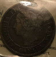 1859 CANADA LARGE CENT PENNY COIN 1 CENT PENNY - ICCS F-15 Wide 9/8