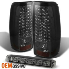 2003-2006 Chevy Silverado GMC Sierra LED Smoked Tail Lights+3rd Brake Cargo Lamp