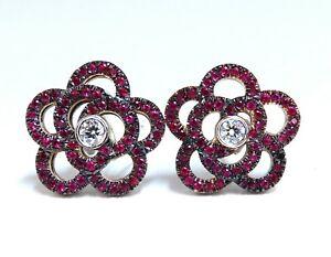 1.58ct Natural Ruby Diamonds Cluster Clip Earrings 14 Karat Gold Flower