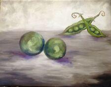 """Lean on Me, Sweet Pea"" Original Oil Painting vegetables fruit peas in a pod"