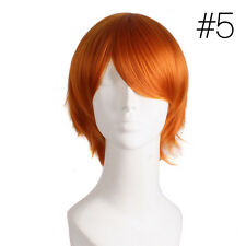 Unisex Womens Mens Straight Short Hair Wig Cosplay Party Anime Full Wigs Stylist