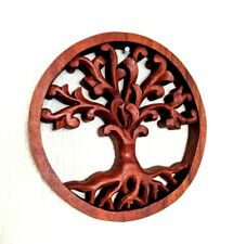 Hand Carved Fair Trade Tree Of Life Wall Art Hanging Plaque Made Wooden Brown